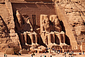 Tourists in front of the Temple of Rameses II., Abu Simbel, Egypt, Africa