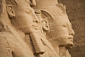 Giant statues at the temple of Rameses II., Abu Simbel, Egypt, Africa