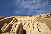 Giant temple of Rameses II. in the sunlight, Abu Simbel, Egypt, Africa