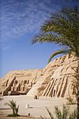 Giant temple Ramesses II. and Nefertiti's temple under blue sky, Abu Simbel, Egypt, Africa