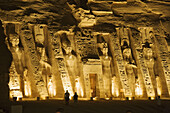 The illuminated Nefertiti's temple in the evening, Abu Simbel, Egypt, Africa