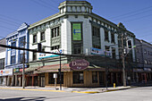 Exterior view of the Dresden Cafe in the sunlight, Puerto Montt, Los Lagos, Patagonia, Chile, South America, America
