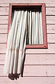 Curtains in window on pink house wall in La Boca district, Buenos Aires, Argentina, South America, America