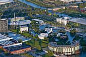 Aerial shot VW Autostadt, Wolfsburg, Lower Saxony, Germany