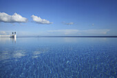 The infinity pool of a hotel under blue sky, Bohol island, Philippines, Asia