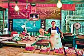 Seller with a Swordfish, Market, Mercato di Ballaró, Palermo, Sicily, Italy