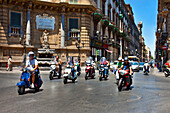 Scooters in the street, Palermo, Sicily, Italy
