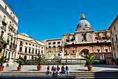 Fountain and statue, Piazza Pretoria, Palermo, Sicily, Italy