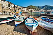 Boats on the beach, Cefalú, Palermo, Sicily, Italy