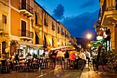 Bar at mainstreet, Lipari city, Island of Lipari, Aeolian islands, Sicily, Italy