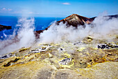 Sulphur steam at the vulcono crater, Vulcano Island, Aeolian islands, Sicily, Italy