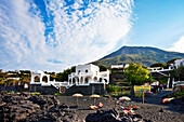 White houses, Stromboli village, Stromboli volcanic Island, Aeolian islands, Sicily, Italy