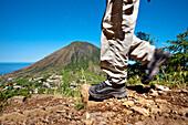 Hiker, Vulcano Monte dei Porri, Salina Island, Aeolian islands, Sicily, Italy