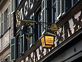 Lantern at the historical brewpub Schlenkerla, Bamberg, Bavaria, Germany