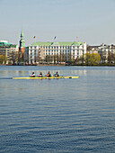View over Alster River to Atlantic Hotel, Hamburg, Germany