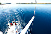 View from the mast to the crew of a sailing boat, Kornati archipelago, Croatia, Europe