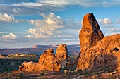 Morning light over Turret Arch, Arches National Park Utah USA