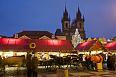 Tyn Cathedral in Old Town Square during Christmas time, Prague, Czech Republic