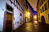 Colmar, rue des Tanneurs, Tanner`s lane, frame houses, cobblestoned pavement, Alsace, France