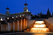 Spain, Cataluna, Barcelona, Santa Eulalia, Sants Montjuic, The National Art Museum of Catalonia MNAC and flood lit fountains