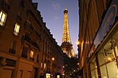 Night view of Eiffel Tower, Paris. France