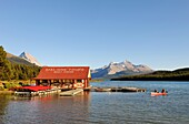 Canoeing On Maligne Lake, Jasper National Park, Rocky Mountains, Alberta, Canada