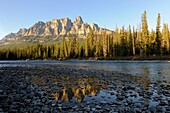 Castle Mountain and the Bow River, Banff National Park, Rocky Mountains, Alberta, Canada