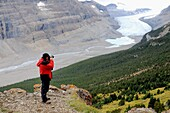 Photographer Eric Baccega taking picture of Saskatchewan Glacier  Columbia Icefield, Jasper National Park, Rocky Mountains, Alberta, Canada