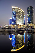 Festival City, vertical, Evening, evening, night, outside, construction, structures, lighting, lights, boats, Dusk, Dubai, Holiday, buildings, crisis, Coast, Luxury yachts, marina, marine, new, project, wealth, ships, worth seeing, sightseeing, town, tax