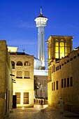 Nightfall at Bastakia Quarter, Dubai, United Arabian Emirates