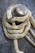 Rope on a fishing boat. Netherlands. Europe