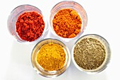 Variety of Spices, Curry, Paprika, Coriander, Cumin