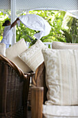 Pillows on the wicker chair, Cousine Island Ressort, Seychelles