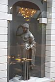 Statue in the window at the Hotel Giardino, Ascona, Ticino, Switzerland