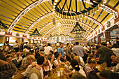 Beer tent at the Oktoberfest, Munich, Bavaria, Germany