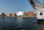 Sailor and Port Authority, Ozeaneum and warehouse building, Hanseatic city of Stralsund, Mecklenburg-Vorpommern, Germany