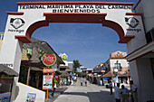 Terminal welcome sign and souvenir shops, Playa del Carmen, Quintana Roo, Mexico