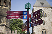 Tourist information signs in German and Japanese language at Karlsplatz square, Eisenach, Thuringia, Germany, Europe