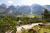 Cycling tour, Isar Cycle Route between Scharnitz and Mittenwald, Karwendel range, Upper Bavaria, Germany