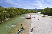 Kayaking on river Isar, Lenggries, Upper Bavaria, Germany