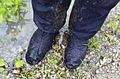 Wet rainwear, Isar Cycle Route, near Moosburg, Upper Bavaria, Germany