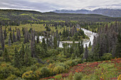 View over scenery with Takahanne River, Yukon Territory, Canada