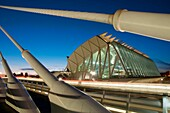 Príncipe Felipe Science Museum from L´Assut d´Or bridge, night view. City of Arts and Sciences, Valencia, Comunidad Valenciana, Spain.