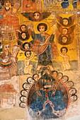 Ethiopia, Tigray, Gheralta cluster, Abreha Atsbeha church, Jesus raising Adam and Eve
