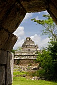 El Caracol observatory seen from the Nunnery in Chichen Itza, Mexico