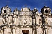 Intricate baroque facade of the Santo Domingo Church in San Cristobal de las Casas, Chiapas, Mexico