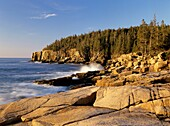 Acadia National Park located on Mount Desert Island, Maine USA which is part of scenic New England  Otter Cliff is off in the distance