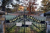 Sunnyside Cemetery during the autumn months  Located in the historical district of Bennington, New Hampshire USA which is part of scenic New England