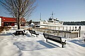M/S Mount Washington docked in Center Harbor during the winter months  Located on Lake Winnipesaukee in New Hampshire USA, which is the largest lake in New Hampshire
