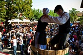 Couple mashing grapes  Grape harvest festival  Alava  Basque country  Spain
